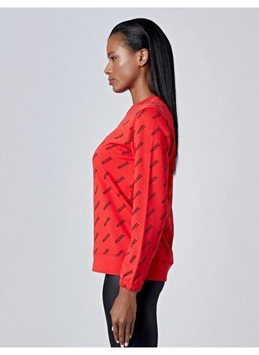 Huxel WUS006193 Huxel Desen Sweatshirt Kırmızı